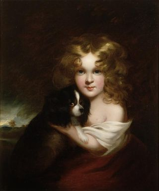 YOUNG GIRL WITH A DOG  by Margaret Sarah Carpenter